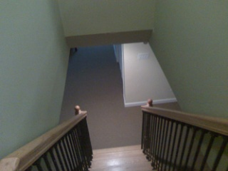 looking down stairs to the new basementroom
