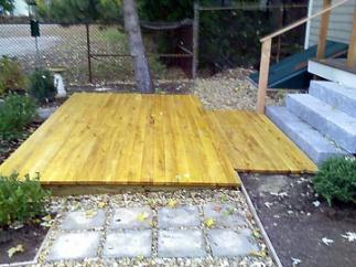 The floating locust patio