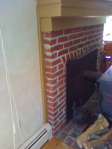 The fireplace mantle before I worked on it
