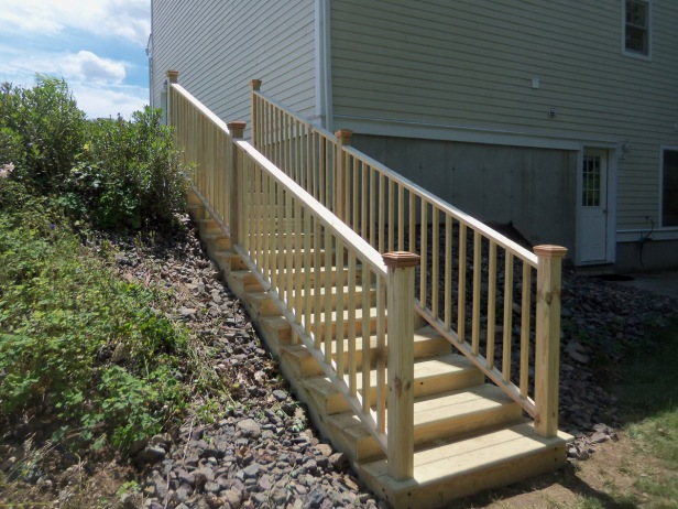 Landscape pressure treated stairs.