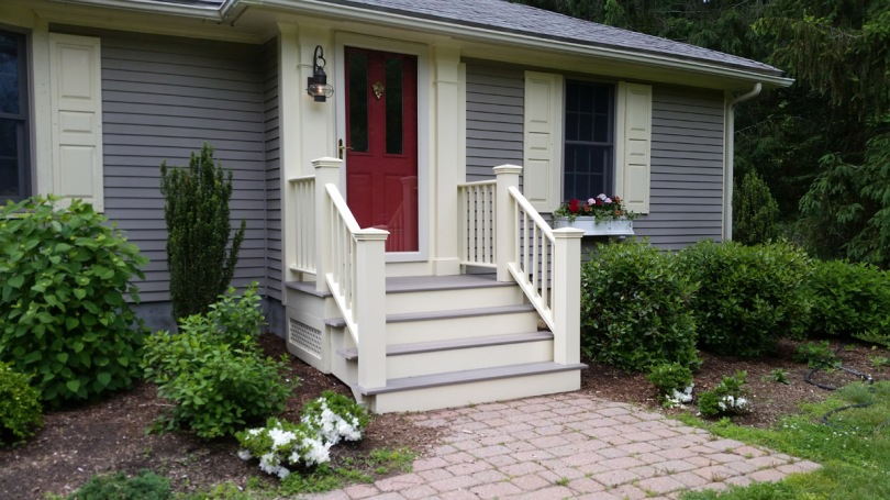 Renovated front porch, Byfield MA